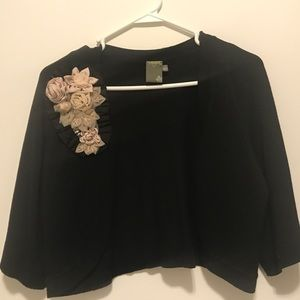 Cardigan with flower and rhinestone detail
